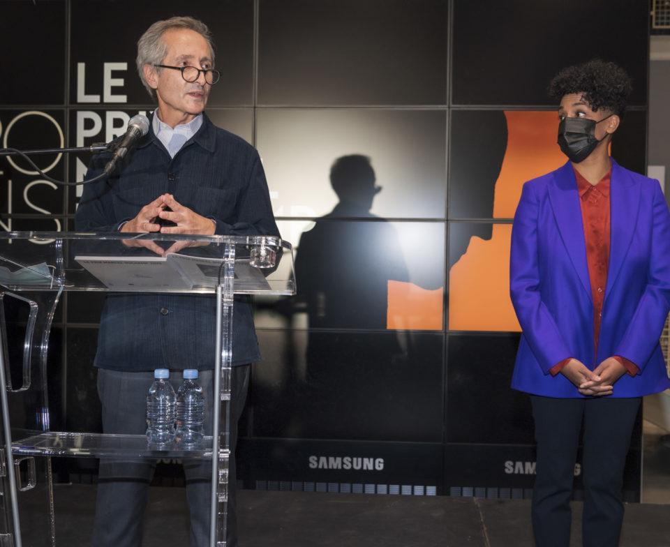 Bernard Blistène, Director of Musée National d'Art Moderne, Centre Georges Pompidou and the laureate, Kapwani Kiwanga
