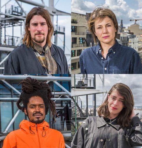 Les quatre artistes nommés au Prix Marcel Duchamp 2021, 21ème édition (de gauche à droite et de haut en bas) Julian CHARRIÈRE, Isabelle CORNARO, Julien CREUZET, Lili REYNAUD DEWAR. Crédit Photo Jean-Michel Sicot